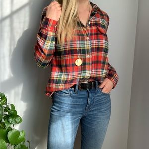 Madewell plaid flannel shirt s small button-down
